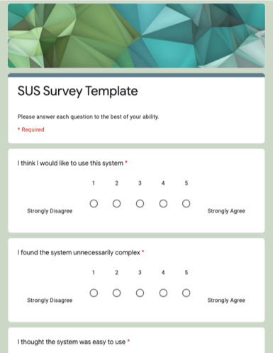 Screenshot of the SUS Survey Template